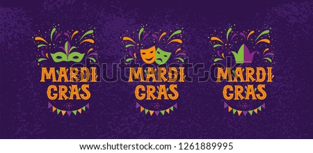 Mardi gras carnival party design. Emblem, sign, logo vector set. Fat tuesday, carnival, festival. Vector illustration. For greeting card, banner, gift packaging, poster