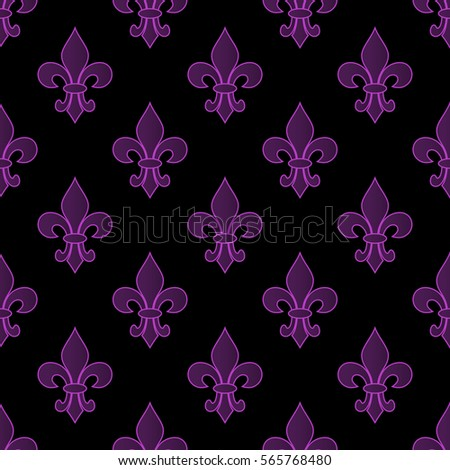 Mardi Gras Carnival seamless pattern with fleur-de-lis. Mardi Gras endless background, texture, wrapper. Vector illustration EPS10.