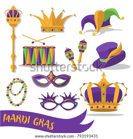 Mardi Gras carnival set icons, design element , flat style.