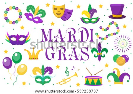 mardi gras carnival set  icons