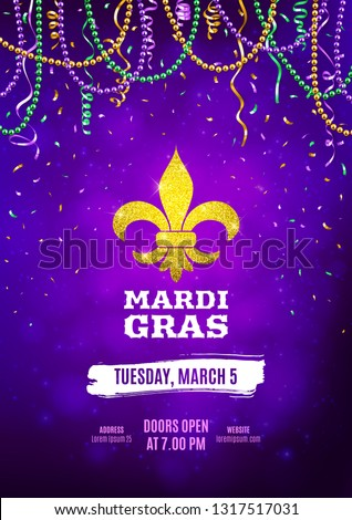 Mardi Gras flyer, decorative advertisement banner with colorful beads, vector illustration