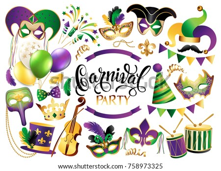 Mardi Gras French traditional symbols collection - carnival masks, party decorations. Vector illustration isolated on white background.