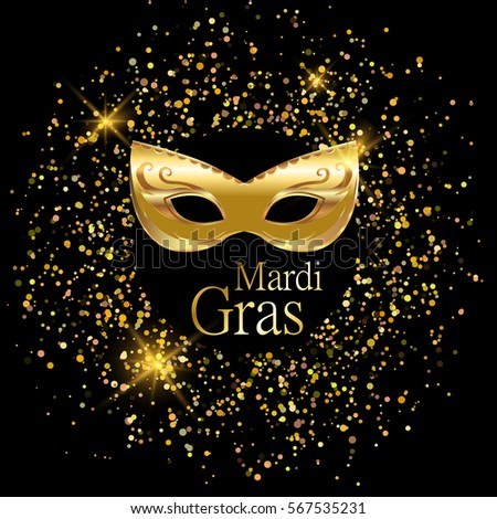 Mardi Gras Golden Carnival Mask With Ornaments For Poster Greeting Card Party Invitation Vector Masquerade