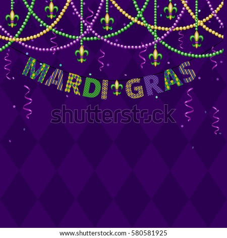 Mardi gras greetings with beads and confetti on purple background