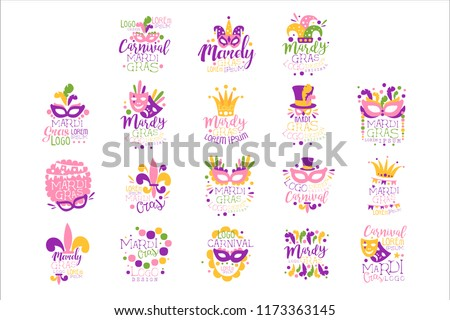 Mardi Gras logo set original design, hand drawn colorful vector Illustrations