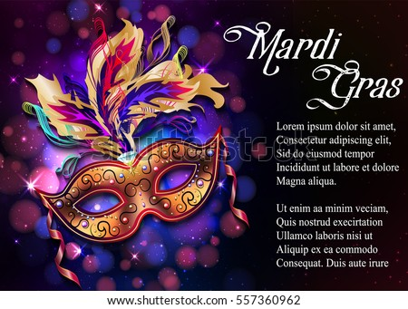 Mardi Gras mask, colorful poster, template, flyer with place for text. Vector illustration