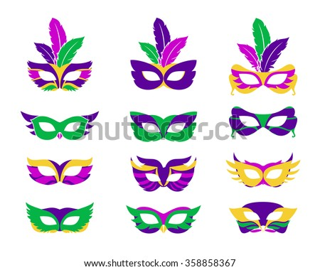 Mardi gras mask, vector mardi gras masks isolated on white