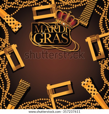 Mardi Gras party favor, noisemaker and beads background. EPS 10 vector illustration.