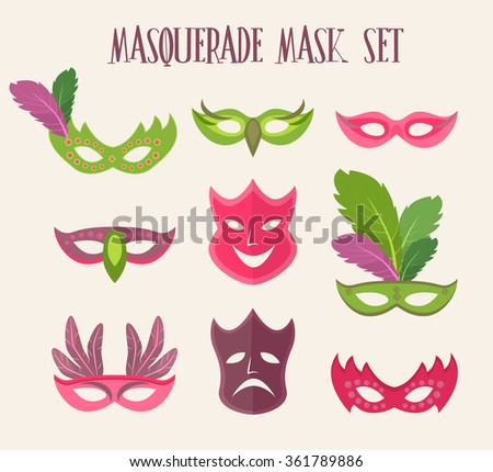 mardi gras party set  vector