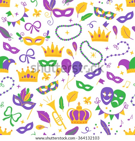 Mardi Gras seamless pattern with balloon, carnival mask, confetti, fleur-de-lis, trumpet, crown, comedy and tragedy masks, ribbon, feathers, harlequin, beads, garland, jester hat on white background