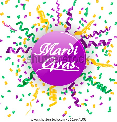 mardi gras sign with confetti