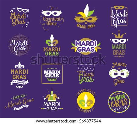 Mardi Gras typography set. Vector emblems, logo with text. Usable for greeting cards, banners, gift packaging. Fat tuesday, carnival. Isolated elements.
