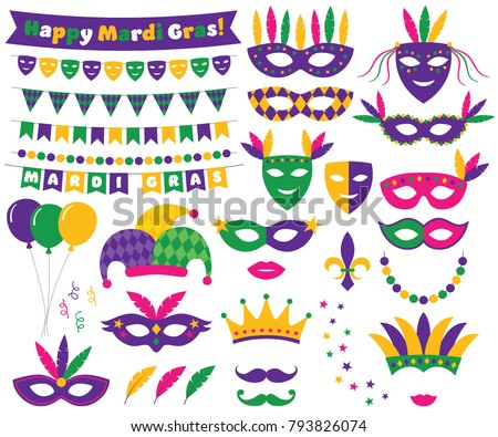 Mardi Gras vector decoration and design elements set