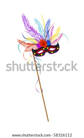 Mardi Grass mask with colored feathes - stock vector