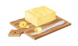 Margarine or spread, natural dairy product. Vector brick of butter on wooden board. High-calorie food for cooking and eating. Farm dairy products isolated on white