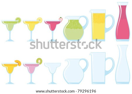 Margarita glasses and pitcher. Part of a collection of glasses and drinks. - stock vector