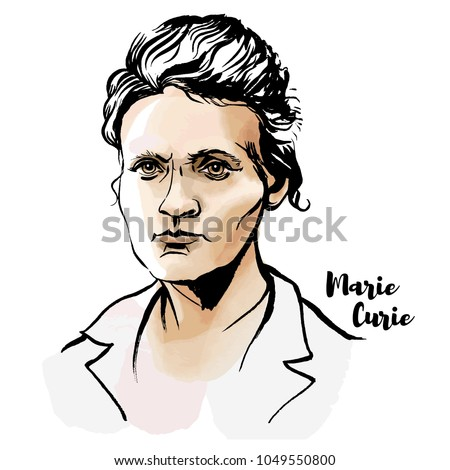 Marie Sklodowska Curie watercolor vector portrait with ink contours. The first woman to win a Nobel Prize. Photo stock ©