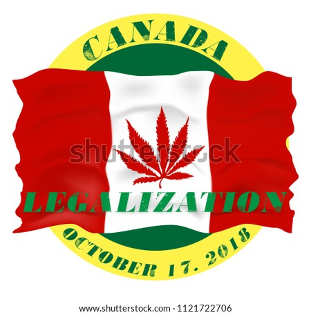 Marijuana Canada Icon design October 17 2018.Legalization of cannabis in Canada.Canadian flag with marijuana leaf Legal Medical isolate Background vector for print,icon,logo,web,template,cover,flyer.
