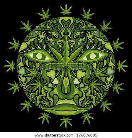 marijuana face character vector
