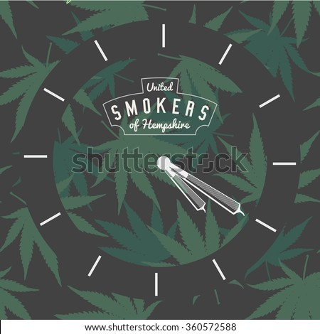 Marijuana Ganja Weed Pot Clock 420 Vector Background Print Poster