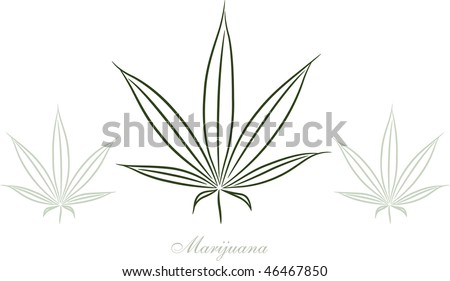 Pot Leaf Outline Marijuana leaf sketch - stock