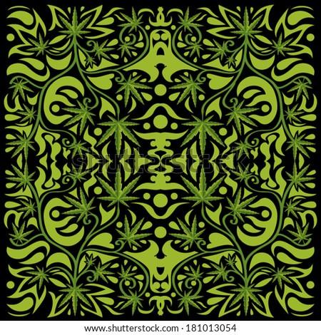 marijuana leaves floral pattern