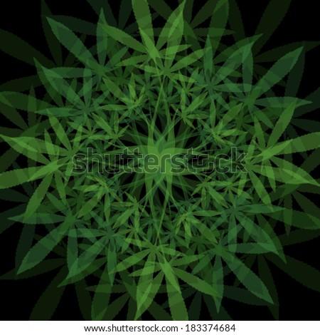 marijuana leaves mandala vector