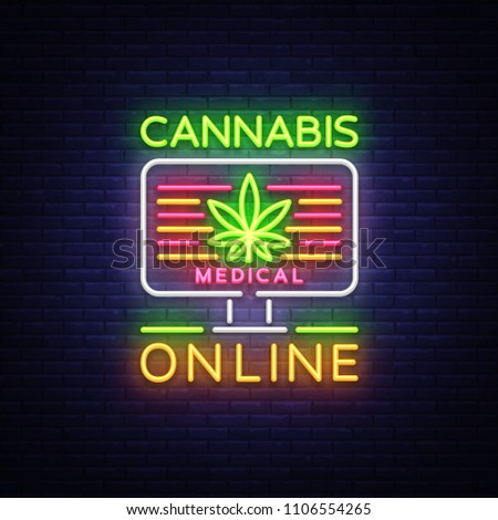 Marijuana Medical Logo Neon Vector. Cannabis Online, Marijuana smoking, storing and growing cannabino medical equipment, light banner, design template. Vector illustration