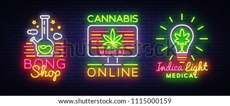 Marijuana Medical Logos collection Neon Vector. Cannabis Online, Bong Shop, Indica concept, Marijuana smoking, storing and growing cannabino medical equipment, light banner. Vector illustration