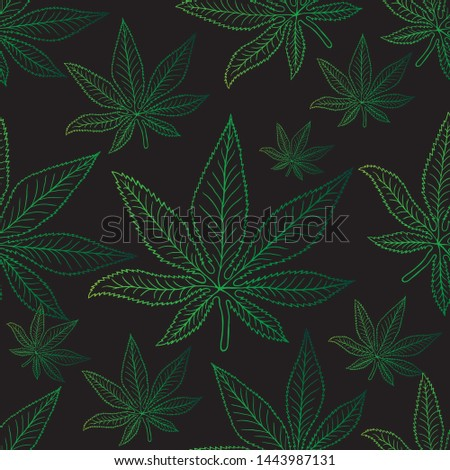 Marijuana seamless pattern Weed vector cannabis leaf tile background polka dot scarf isolated repeat wallpaper