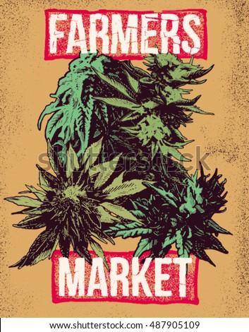 Marijuana Weed Ganja Vector Background Print Poster