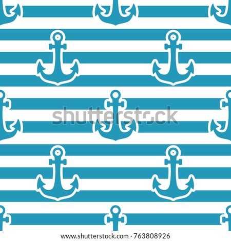 Marine anchor icon. Vector Seamless pattern. Blue isolated on white and blue striped background.
