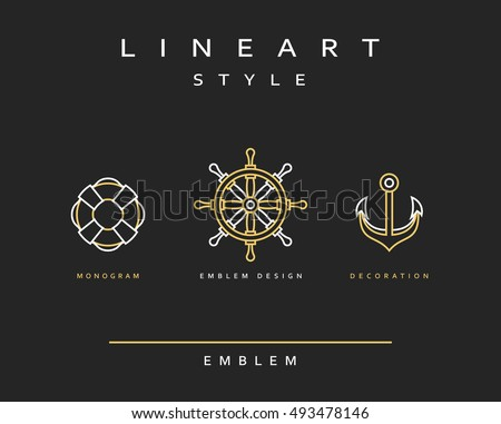 Marine anchor in linear style. Marine anchor in linear style vector illustration of design element. Emblem nautical theme for the restaurant. The anchor, the ships wheel, life buoy.