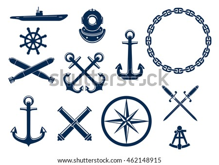 marine and nautical flat icons