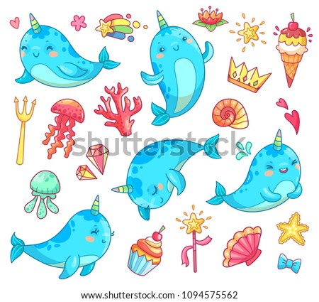 marine animal kawaii character