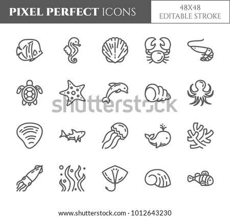 Marine animals pixel perfect icons set with different fishes and other sea and ocean elements. Isolated 48x48 pixels pictograms vector illustration with editable stroke.