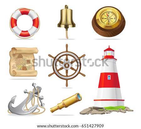 Marine attributes set of isolated vector illustrations, which includes lifebuoy, gold bell and compass, ancient map, steering wheel, iron anchor, small spyglass and red and white lighthouse.