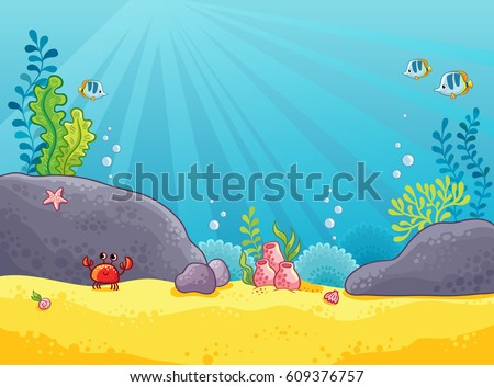 Marine background. Vector illustration of the underwater world. The picture in the style of children's cartoon.