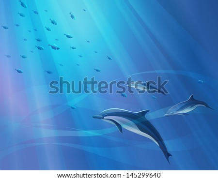 marine background with dolphins