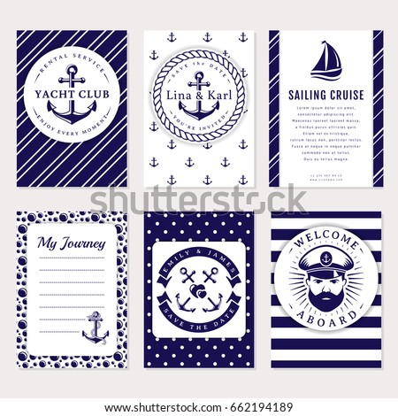Marine banners, invitations and flyers set. Elegant card templates in white and navy blue colors. Sea wedding, yacht club, sailing cruise and other nautical themes. Vector collection.