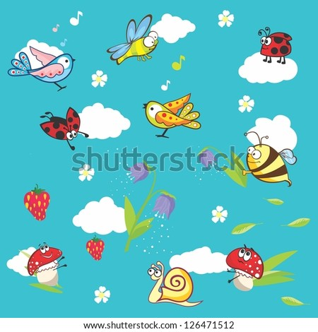 Marine blue background with insects and flowers | Vector baby texture with funny animals