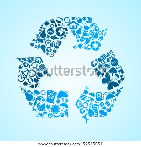 Marine blue vector recycle icon