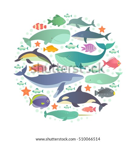 Marine creatures. Vector illustration of  whales, dolphins and fish, such as narwhal, blue whale, dolphin, beluga whale, humpback whale, sperm whale and shark arranged in a circle. Isolated on white.