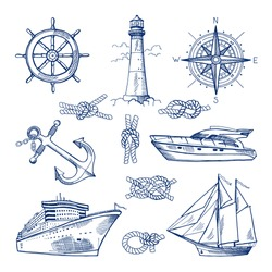 Marine doodles set with ships, boats and nautical anchors. Vector illustrations in hand drawn style.
