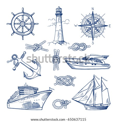 marine doodles set with ships ...
