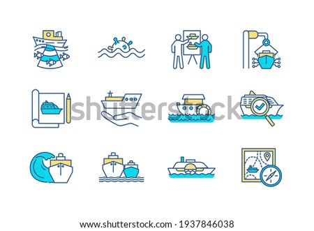 Marine engineering RGB color icons set. Floating structures development. Oceanography. Cruising. Marine safety. Sea vessels designing. Navy defense. Maritime travel. Isolated vector illustrations