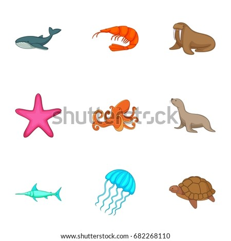 Marine fauna icons set. Cartoon set of 9 marine fauna vector icons for web isolated on white background