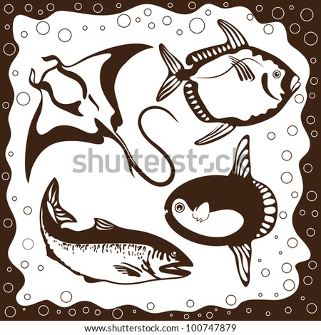 Marine fishes, silhouettes set, vector illustration