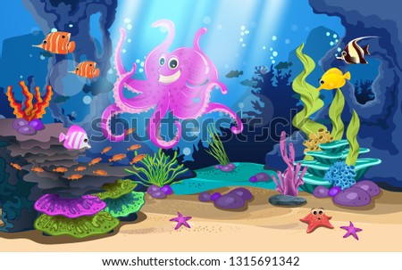 marine habitats and the beauty of coral. There are fish coral reef and giant octopus. #1315691342