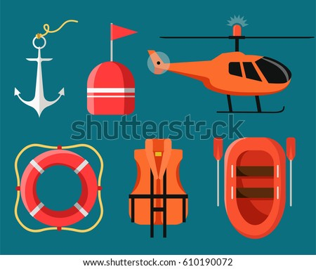 Marine icon set of sea safety, rescue equipment. Vector illustration in modern flat design.